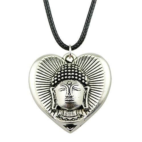 VAWAA 1 Pieza Nueva Cadena de Cuero Vintage 32x32mm Buda en el corazón Colgante Collar para Las Mujeres Regalo Plata Antigua Color