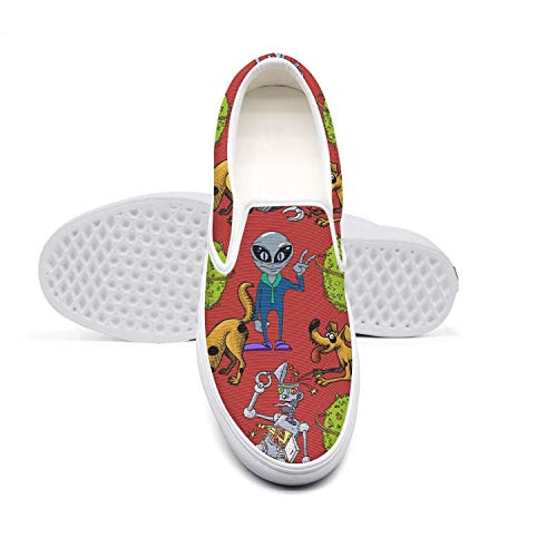 AADGHJKK Broken Robot Funny Dog Alien Planet Womens Best Slip on Basketball Canvas Shoes Basketball Low Top Sneaker