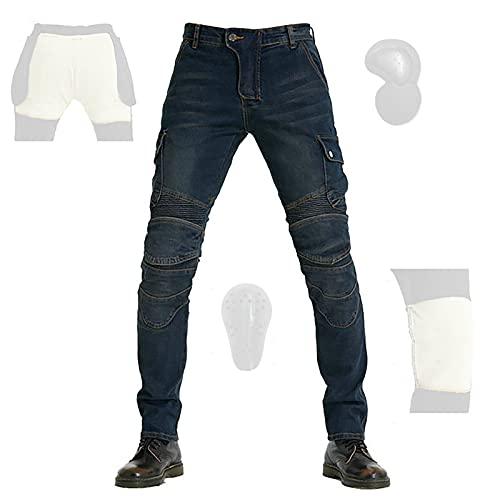 CYLZRCl Montar Jeans Pantalones Moto para Hombre Motocross Actualizar Pantalones Impermeables para Montar Motocicleta con Rodilleras CE Armor (Color : Blue, Tamaño : XL)