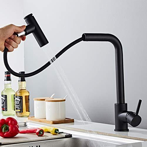 Morotel Küchenarmatur 360° Schwenkbare Spültischarmaturen Wasserhahn Küchen & Brause ausziehbar- Hochdruck Schwarz