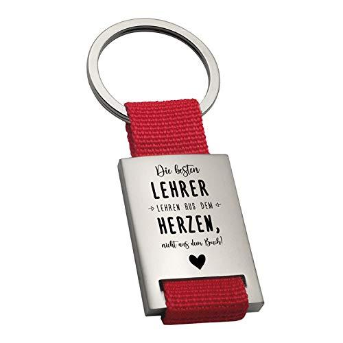 Schlüsselanhänger- die besten Lehrer (rot, ohne Rückseite): Anhänger mit Spruch und Name Bedruckt, personalisiertes Geschenk zum Abschied, Abschluss, Dankesgeschenk