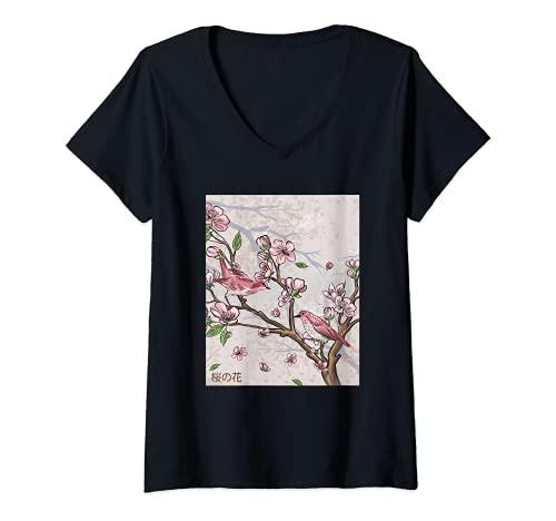 Mujer Flor de cerezo de arte gráfico estético japonés Camiseta Cuello V