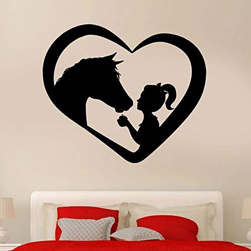 Calcomanía de pared con diseño de caballo y niña, diseño de corazón de animal, decoración del hogar, dormitorio, habitación del bebé, vinilo para ventana