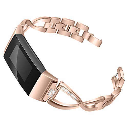 XIALEY Correa Compatible con Fitbit Charge 3 / Fitbit Charge 4, Pulseras De Repuesto para Banda De Diamantes De Imitación con Brazalete De Metal Deportivo Mujer para Charge 4 / Charge 3,Rose Gold