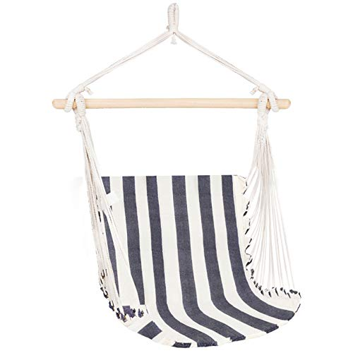 INNO STAGE Wooden Hammock Chair - Hanging Rope Swing Cotton Weave for Kids Comfort & Durability - Brazilian Hanging Chair for Yard, Bedroom, Porch, Picnic,Travel