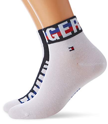 Tommy Hilfiger Herren TH Men Hilfiger Quarter 2P Socken, Weiß (White 300), (Herstellergröße: 43/46) (2er Pack)