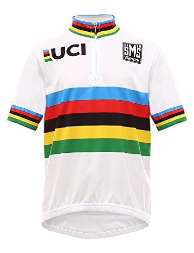Santini Replica Re 942B 14 Wcrd - Maglietta A Manica Corta Uci World Champ Road Da Bambino, colore bianco, taglia 11 Anni