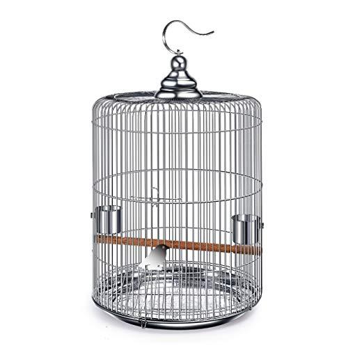 Jaula Pájaros Jaula de pájaros de acero inoxidable grande con ganchos de metal Puede colgarse en la jaula de pájaros redonda de Bird Villa al aire libre 6 Opciones de tamaño pequeños pájaros e