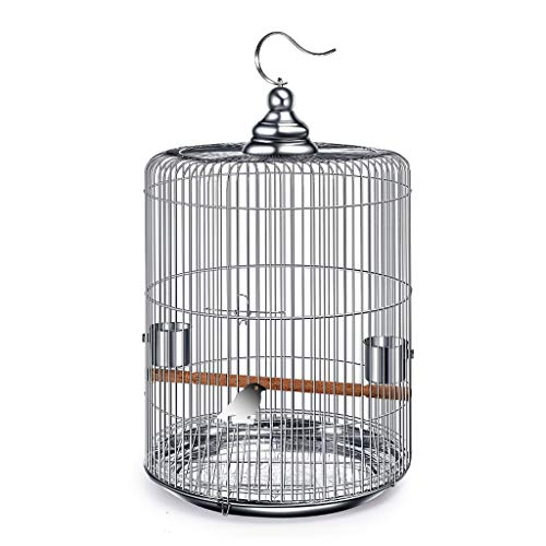 NYKK Small Bird Cage/Cottages Bird House Stainless Steel Bird Cage Large With Metal Hooks Can Be Hung in The Outdoor Bird Villa Round Bird Cage 6 Size Options bird cage/Nest Box Birdhouse Birds