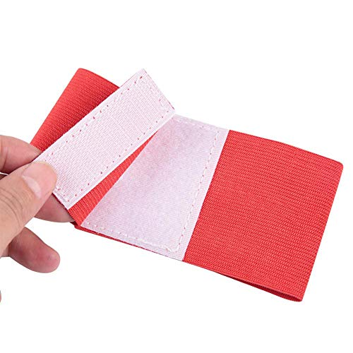 Dwawoo Fußball-Armband, 5 Farben Outdoor Team Sports Gruppen Captain Armband Verstellbare Spielerbänder (Rot)