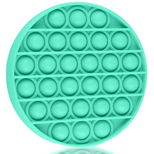 Brinquedo de apertar sensorial, brinquedo de alívio de estresse de silicone, necessidades especiais para autismo, alívio de estresse, brinquedo sensorial para ansiedade, autismo, crianças e adultos (verde menta redondo)