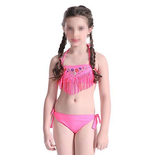 Traje De Baño De Niña,Niña De 5-14 Años Nadar Ropa,Borla Bordada Diseño, Traje De Baño Bikini De Dos Piezas, para Baño Playa Fiesta Piscina,128