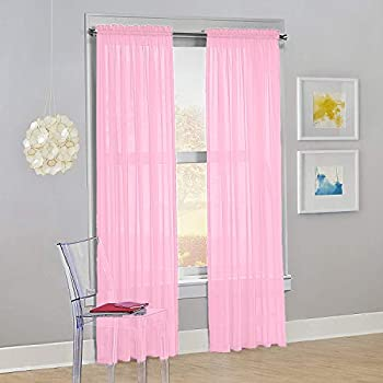 Decotex Set of 2 Sheer Voile Transparent Window Panel Curtain Drapes  54  W X 84  L Light Pink