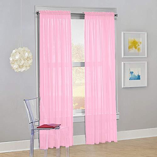 "Decotex Set of 2 Sheer Voile Transparent Window Panel Curtain Drapes (54"" W X 84"" L, Light Pink)"