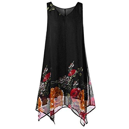 TUDUZ Damen Sommer Große Größen Blumendruck Chiffon Armellose Asymmetrisch Hem Minikleid (XXXXXL,Schwarz)