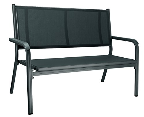 Kettler Basic Plus Gartenbank – 2-Sitzer Alu Gartenbank mit Armlehnenpolsterung – wetterfeste & stabile Gartenbank aus anthrazitfarbenem Aluminium