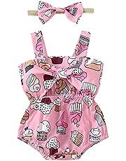 طفل الفتيات اثنين من قطعة رومبير وأغطية الرأس الملابس مجموعة الكرتون المطبوعة نمط أكمام ساحة الياقة الوردي الأخضر الأرجواني (Color : Pink, Kid Size : 18M)