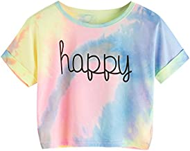 SweatyRocks Womens Tie Dye Letter Print Crop Top T Shirt,Muiticolor 1,Medium