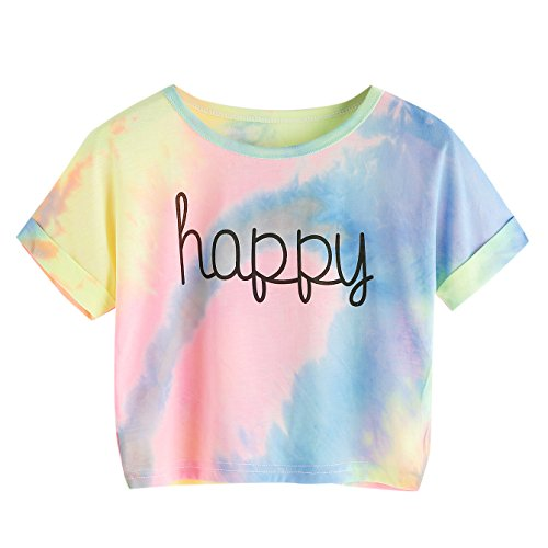 SweatyRocks Womens Tie Dye Letter Print Crop Top T Shirt,Muiticolor 1,Large =M