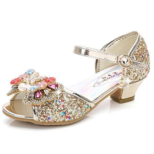 AIYIMEI Zapatos de Princesa Niñas Sandalias Disfraz de Elsa Fiesta Chica Verano Brillando Zapatilla de Ballet Cosplay Danza Boda Carnaval Cumpleaños Regalo EU26-38