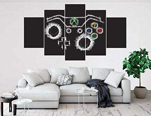 QMCVCDD Canvas Prints 5 Piece Canvas Picture Artwork Canvases Xbox Controller Pictures Poster Modern Living Room Home And Office Decorations Wooden Frame