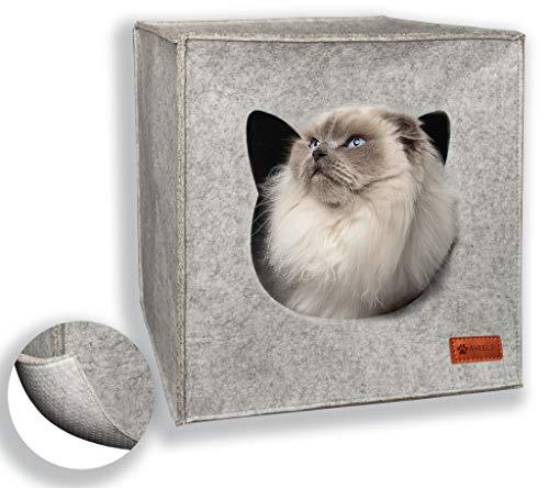 AVEELO Katzenhöhle aus Filz mit Anti-Rutsch Boden Katzenbox passend für IKEA Regal Kallax und Expedit mit herausnehmbaren Kissen Katzenhaus Filzhöhle für Katzen und kleine Hunde Katzenkorb (Hellgrau)