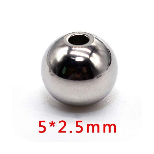 who-care 40 cuentas espaciadoras de acero inoxidable de 3, 4, 5, 6, 8, 10, 12 mm, redondas, sueltas, para pulseras, collares, joyas, accesorios de bricolaje, 5 x 2,5 mm.