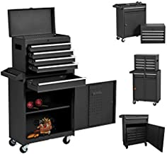Eco Home Tool Chest with 5-Drawer Rolling Tool Chest High Capacity Tool Cabinet Removable 4-Wheel Tool Chest,Large Capacity Tool Box with Keyed Locking System for Garage and Warehouse (BLACK)
