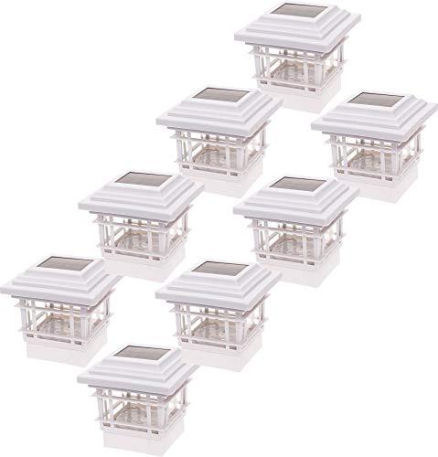 GreenLighting 8 Pack Contemporary 15 Lumen Plastic Solar Post Cap Lights for 4x4 Wood Posts (White)