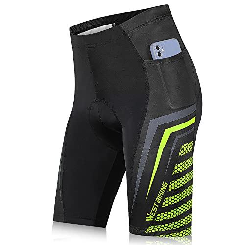 West Biking Pantaloni da ciclismo da uomo con imbottitura per la seduta, pantaloni da ciclismo da uomo imbottiti con tasche laterali, traspiranti, ad asciugatura rapida, pantaloncini estivi B-verde. L
