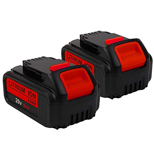 2Pack DCB200 20V MAX 4.0Ah Lithium Ion Replacement Battery Compatible with Dewalt Battery DCB200 DCB204 DCB205 DCB206 DCB205-2 DCB201 DCB203 DCB181 DCB180 20V DCD/DCF/DCG/DCS Series