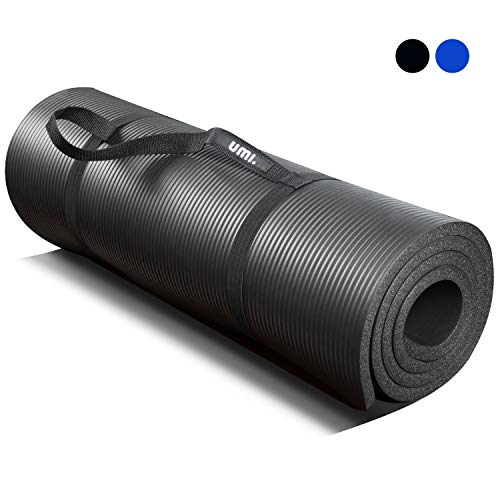 UMI. by Amazon - Tappetino Fitness per Pilates Extra Spesso Yoga Pilates Abdominals And Stretching 180 x 61 x 1.5 cm (Nero)