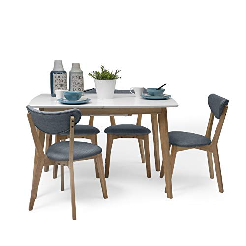 Homely - Conjunto de Comedor de diseño nórdico MELAKA Mesa Extensible de 120/160x80 cm Blanco-Roble y 4 sillas tapizadas - Azul