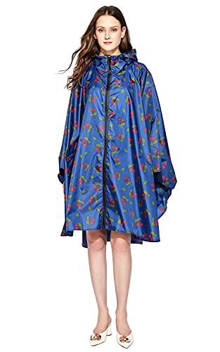 NUUR Poncho de lluvia para mujer, impermeable, ligero, reutilizable, con capucha, para bicicleta y moto
