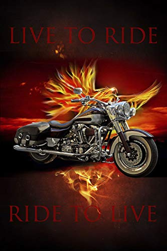 David Textiles Love To Ride Ride to Live Motorcycle Panel with Flames 36 X 44 Cotton Fabric