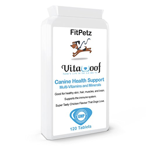 Multivitamins for Dogs - VitaWoof - Calcium, Iron, Zinc, Vits A, B, C, D3, E, K - Dog Supplement for healthy skin, fur, muscles, brain - 120 Chicken Flavoured Tablets - Taste Guarantee - UK Made