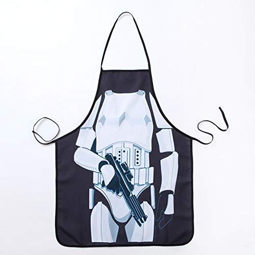YYZZ Bib Apron,Novelty Fun Apron Star Wars Black Warrior Kitchen Apron Dinner Cooking Apron Adult Cooking Apron
