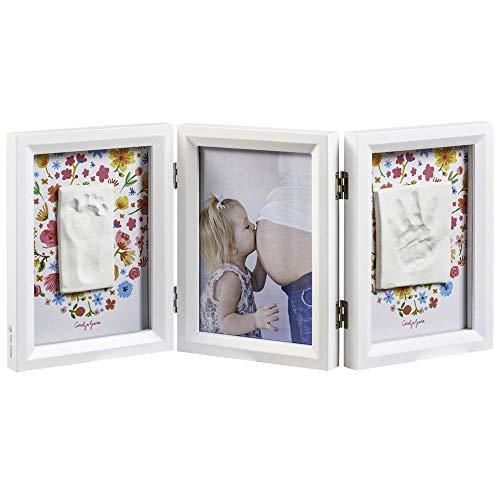 Cadre impression bébé, cadre photo 2er pour photo, main et empreinte, rond, édition cuivre rond cuivre, blanc