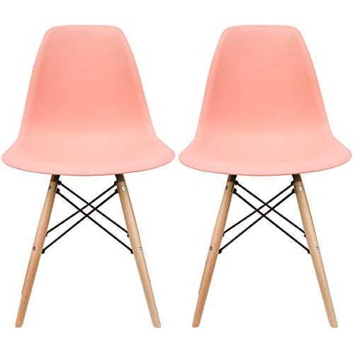 2xhome Set of 2 Coral Pink Mid Century Modern Contemporary Vintage Molded Shell Designer Side Plastic Eiffel Chairs Wood Legs for Dining Room Living Conference DSW Desk Kitchen Comfortable