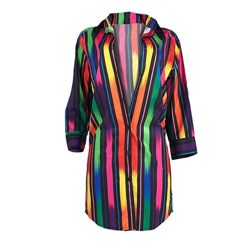 Damska seksowna koszula w paski Moda w dopasowanym kolorze nadruk Wygodna, dopasowana klasyczna jednorzędowa sukienka koszulowaS