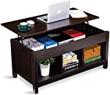 Itaar Lift Top Coffee Table with Hidden Storage Compartment & Shelf, Modern Lift Tabletop Storage Coffee Table for Home Living Room, Espresso