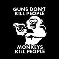 ベルビューティーフラワー 11X15CM GUNS DO NOT KILL PEOPIE MONKEYS KILL人々ビニールステッカー車のステッカーS8-0029 (Color Name : Silver)