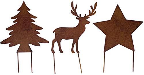 Metall Stecker Baum Stern Rentier 3erSet Rost Stecken Beetstecker Tierfigur Advent Weihnachten Hirsch Elch Rasenstecker Gartenstecker Blumenstecker Winter Garten Deko Gartendekoration braun (Motiv 2)