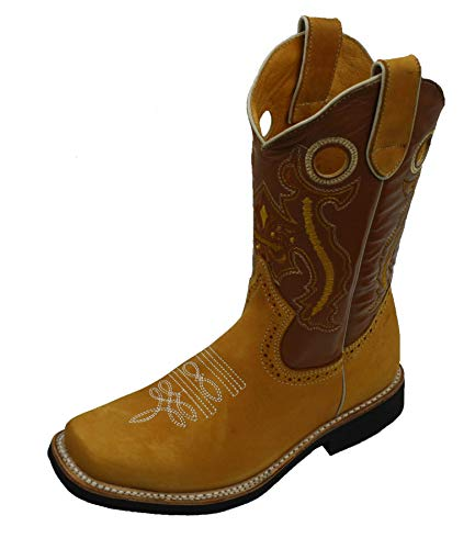 Children Youth Sizes Cowboy Genuine Leather Square Toe Rodeo Boys Western Boots
