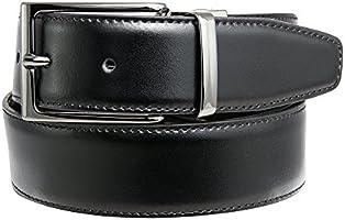 Dautore Gürtel, 100% Made in Italy Gürtel aus echtem Leder, schwarz / dunkelbraun reversible Gürtel