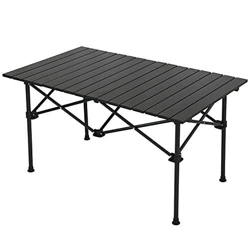 Klapptisch im Freien, Aluminium Camping Tisch mit tragbar Reisetisch Picknick Kochen Garten Multifun ktionstisch Wandern Sonstige Outdoor Aktivitaten (Pure Black and White)