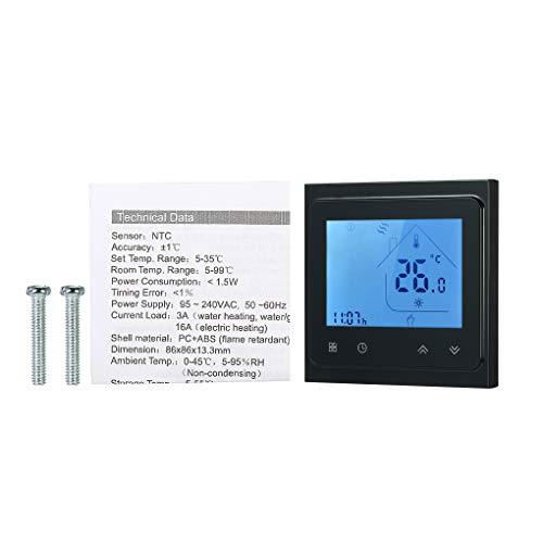 Weilifang Temperatura Baja del Agua de calefacción del termostato programable semanal de luz de Fondo termostato de Ambiente programable Controlador con retroiluminación de LCD, Negro