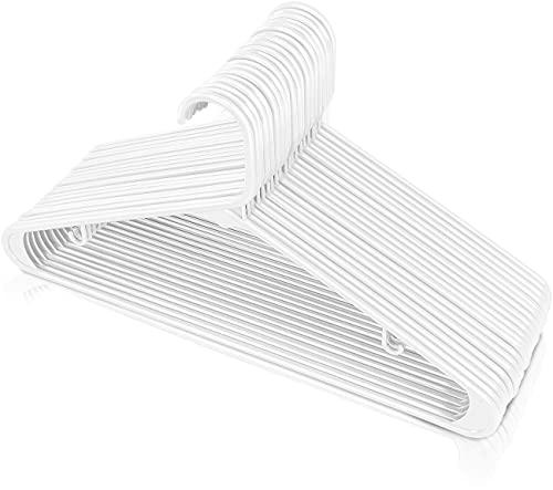 Utopia Home Plastic Hangers 30 Pack - Clothes Hanger with Hooks - Lightweight & Space Saving Plastic Hangers - Durable, Slim & Sleek White Hangers