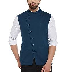 Hypernation Blue Color Side Button Cotton Waistcoat for Men