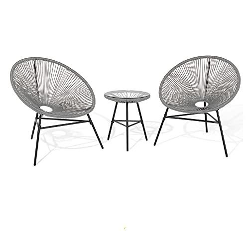 early morning Dreiteiliges Tisch- und Stuhlset für den Balkon im Freien, Tisch- und Stuhlset aus gewebtem Rattan im nordischen Café